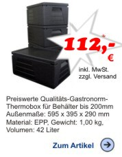 Thermobox Gastronorm 1/1 230mm schwarz